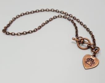 PAW handstamped heart charm copper chain bracelet