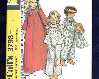 Vintage 70's McCall's 3798  Nightgown And Pajamas, With High Yoke, Long Or Short Sleeves, & Pajama Bag  Girls Size 6