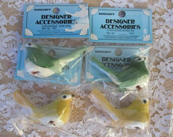 Craft Decoration Bird Set of 4 Chickadee Songbirds Green & Yellow Color New Old Stock in Packages Crafts Decoration, Floral Display