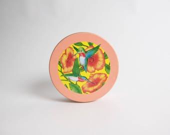 Vintage 1980s Hummingbird Circular Metal Tin Cannister