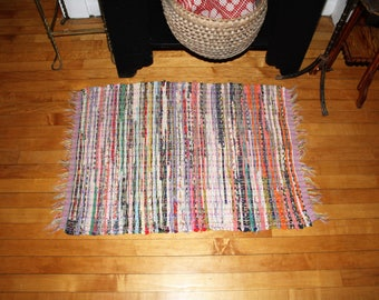 Vintage Country Rug Hand Loomed Rag Rug Rustic Farmhouse Decor 1940s
