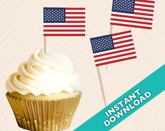 American Flag Toothpick Party Decoration - Food Flag, DIY printable food flag, cupcake topper, red white and blue