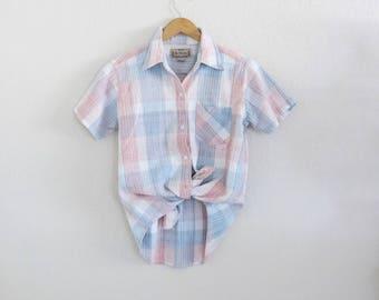 plaid linen button down / s
