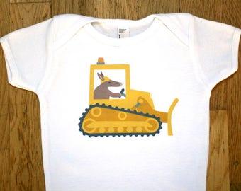 Truck Onesie - Construction Bulldozer Baby Clothes - Aardvark Baby Onsie