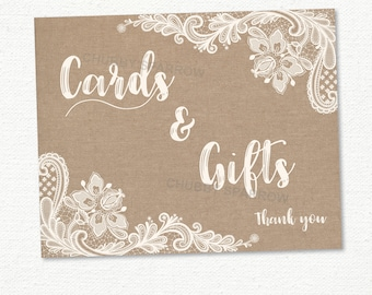 """Cards and Gifts Sign, Wedding Lace Linen, 8x10"""" Gift table, Wishing Well, Wedding Decor"""