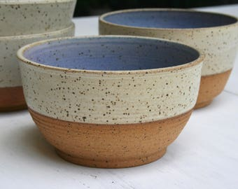 rustic cereal bowl, matte blue, white speckled, breakfast bowl, minimal matte, earthy pottery dish, dessert bowl, speckled dinnerware, dish