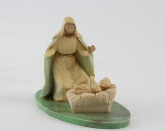 Vintage Miniature Nativity Scene -  Mary Jesus Creche Nativity Scene Christmas Decoration