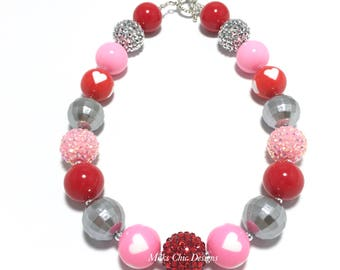 Toddler or Girls Silver, Red and Pink Heart Chunky Necklace - Valentine's Day Chunky Necklace - Pink Heart necklace - Love Chunky Necklace