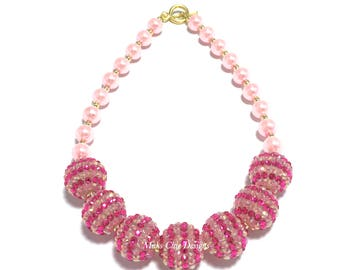 Toddler or Girls Hot Pink and Light Pink Chunky Necklace - Valentine's Day Chunky Necklace - Bling & Pearl Chunky Necklace - Princess Pink