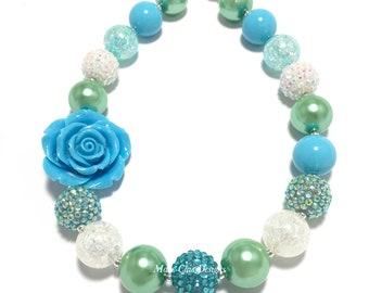 Toddler or Girls Chunky Rose Necklace - Blue Rose Chunky Necklace - Blue, Green and White Chunky Necklace - Beach Flower Chunky Necklace