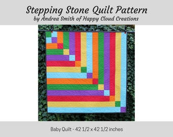 Stepping Stone Baby Quilt PDF Pattern, Baby / Toddler size, Quick, Easy, Beginner pattern, Novice Quilter, half square triangles, digital
