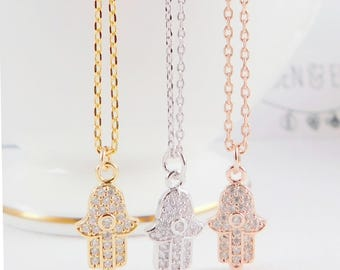 Hamsa Necklace, Evil Eye Necklace, gold hamsa necklace, silver hamsa necklace, rose gold hamsa necklace, hand of fatima, gift for her