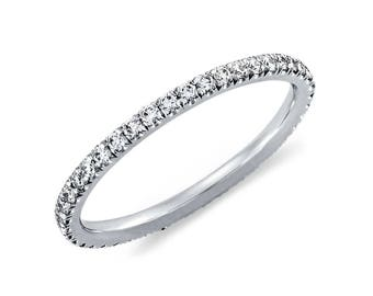Diamond Wedding Band .40ct Round Diamonds Pave Eternity Platinum Ring Wedding Anniversary Band