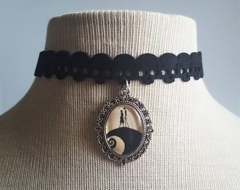 Jack and Sally Skull Choker Black Velvet Disney Silhouette Victorian Cameo Small Handmade Silver Necklace Choker Jewellery