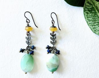 Antiqued Brass Chevron Earrings with Chrysoprase, Yellow Jade and Blue Lapis Lazuli