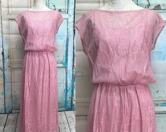 70s Pink J C Pennys Plus Size Lace Maxi Dress