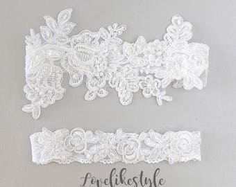 Wedding Garter SetWhite Beaded Lace SetBridal GrterWedding