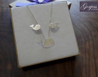 Silver Whale Pendant and Earrings - Whale Earring Studs - Whale Necklace - Handmade Whale Charm