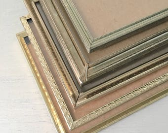 Vintage Picture Frames 5x7 Set / Lovely Gold Tone Metal / Wedding Table Number Holders / Gallery Wall / Antique Art Deco / Farmhouse Decor