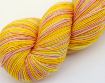 "Self Striping Sock Yarn, Superwash Merino and Nylon 75/25 Fingering Weight, in ""Narcissus"""