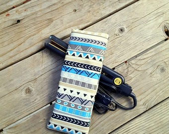 Geometric Teal and Tan Stripes Travel Flat Iron Case, Curling Iron Case, Hot Iron Case