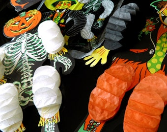 """Hard-to-Find 1960s """"Halloween Dancers"""" by The Beistle Company (Skeleton + Scarecrow)--In Original Package--2 Black Cats/Witches Decorations"""