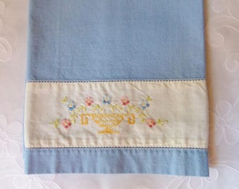 Blue Hand Embroidered Tea Towel