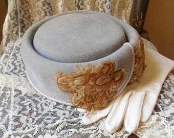 Gray Marche Hat with Feathers, Midi Ladys Velour Hat, Womens Designer Hat from Italy