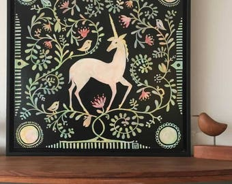 Never Alone (Unicorn), ORIGINAL painting, framed, ready to hang, from the Topiary Series by Lisa Firke