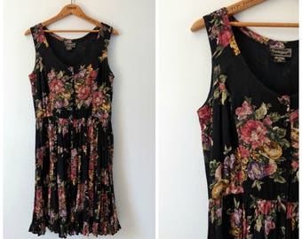 Vintage black floral dress, hippie boho dress, size large