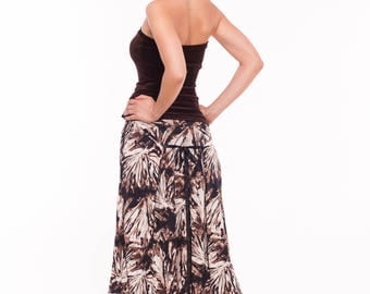 Tango Skirt in Brown, Slit Tango Skirt, Print Tango Skirt, Jersey Skirt for Tango with Adjustable Back, Pleat Tango Skirt