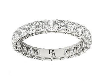 Almani Cornelia Ring 14K Shared Prong Asscher Diamond Eternity Band 3ctw
