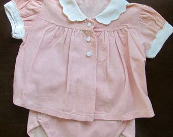 1950s 2-Piece Baby Infant Girl's Outfit Soft Corduroy Scalloped Collar and Sleeves Top with Matching Diaper Cover
