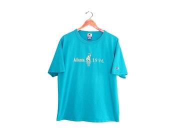 vintage t shirt / Champion t shirt / Atlanta 1996 shirt / 1990s Atlanta 1996 Olympic Games Champion t shirt XL