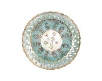 Vintage Mint Green Saucer Gold Floral Reticulated Edges Enesco Japan Plate Iridescent Center Brushed Gold Trim