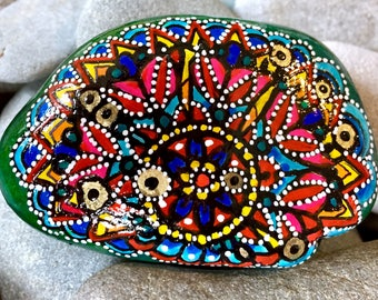 Through the looking glass/ painted rocks/ painted stones/ rock art/ boho art / hippie art / mandalas / mandalas on rocks / mandala art rocks