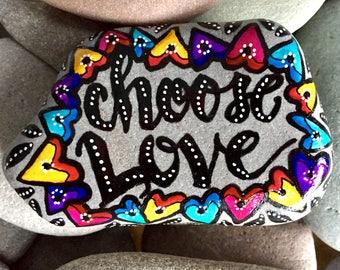 choose love / painted rocks/ painted stones/ rock art / words on stone/ words on rocks / art for altars / boho art / hippie art / love wins