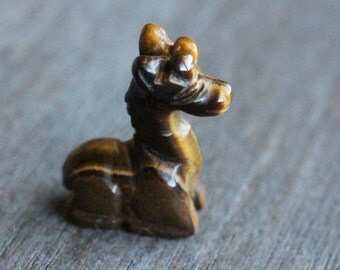 Tiger Eye Stone Giraffe Figurine F159
