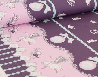 Shinzi Katoh | Japanese fabric - kawaii Usagi Alice - oxford cotton - purple - 1/2 YD