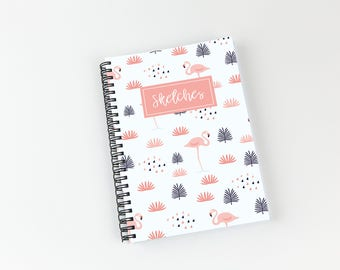 Writing journal, soft cover, book, blank spiral notebook, sketchbook, paper for notes, custom - flamingo watercolor pattern