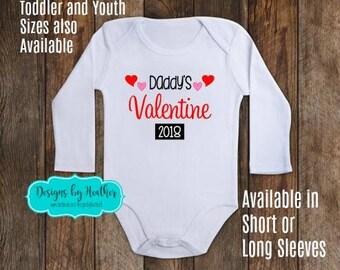 Personalized Bodysuit - Daddy's Valentine - Valentines Onesie - Valentines Day Baby Clothes