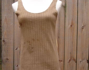 ORGANIC - MIRROR TANK 01 eco friendly tank top natural herbal dye yoga hiking shirt  handmade xs sm md ready to ship