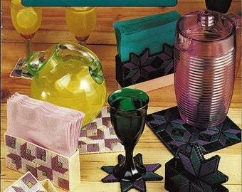 Quilt Beverage Sets Plastic Canvas Pattern Book Annie's Attic 87Q74