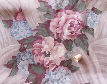 bouquets on cream floral print vintage cotton upholstery fabric -- 48 wide by the yard