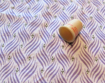 lavender and white print vintage cotton fabric -- 42 wide by 1 yard