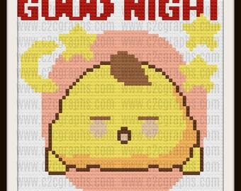 Good Night Baby Afghan, C2C Graph, Written Word Chart, Crochet Pattern