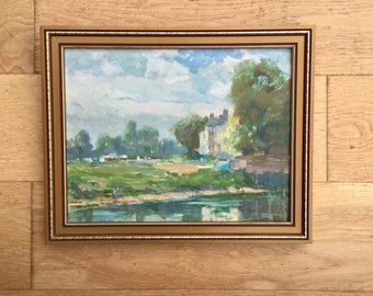 1980s Painting of a Pond Wall Hanging Framed Home Decor Landscape Original Art Signed HH Harris