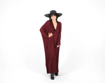 90s Indian Gauze Avant Garde Cross Over Long Sleeve Plunging Neckline Goth Glam Deep Burgundy Minimal Maxi Dress