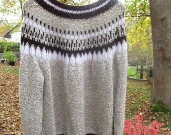 ON SALE Vintage handknit Fair Isle Sweater / Knit Brown tweed salt & pepper jumper / Newfoundland knit sweater / Unisex women S/M/L Men S/M