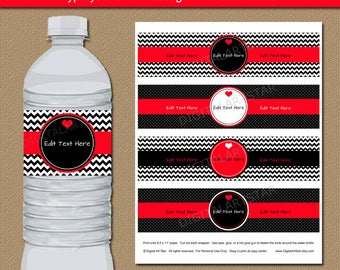 Happy Valentines Day Water Bottle Labels - EDITABLE Valentines Day Party Decor - Printable Red Black Valentine Labels Digital Download V1